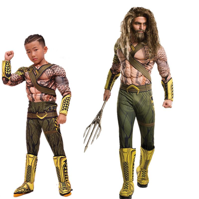New Arrival Muscle Aquaman Costume For Boys Halloween Costume Kid