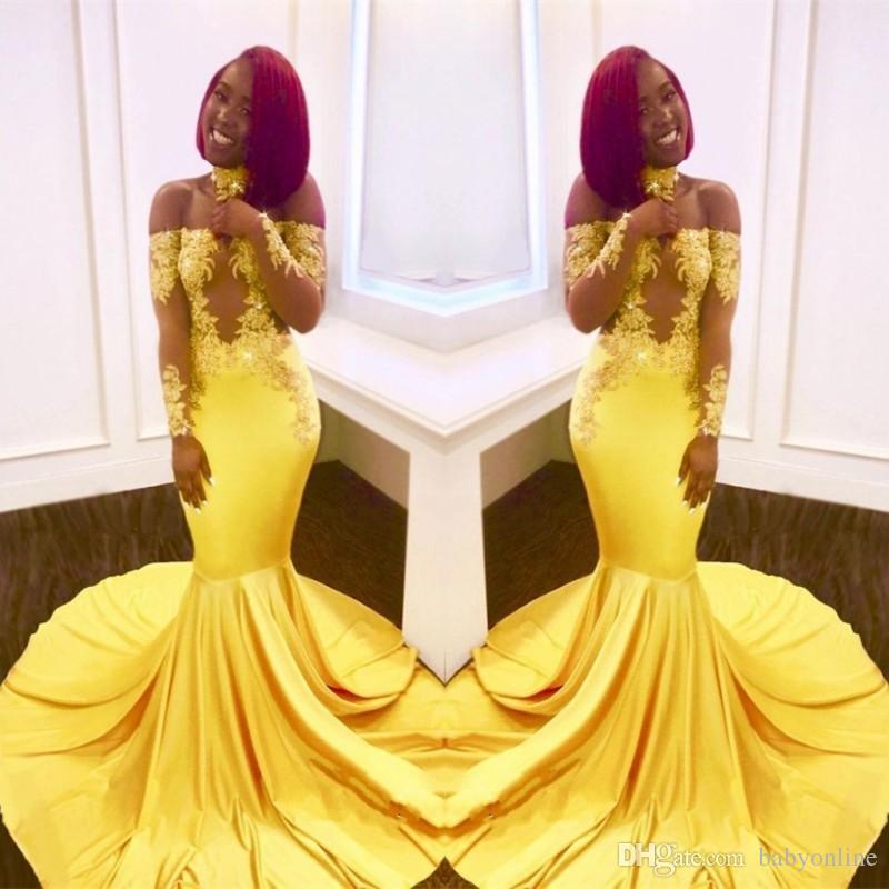 5353688ec1 Yellow Mermaid Black Girls Prom Dresses 2018 Custom Made Sheer Long Sleeves  Appliques Satin Evening Gowns Off Shoulders BA7903 Ivory Prom Dresses Knee  ...