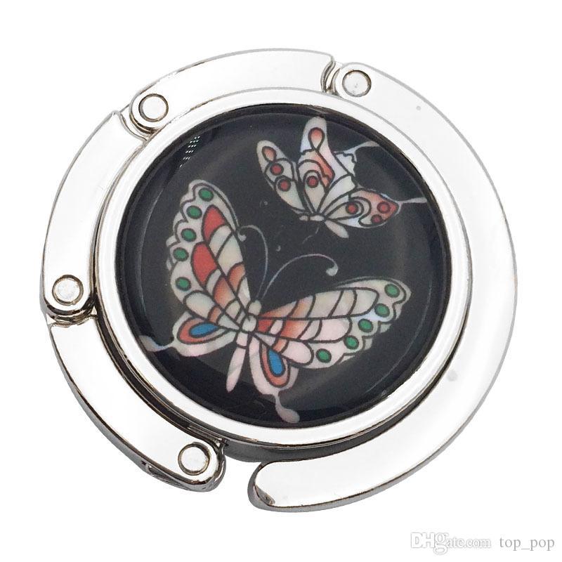 Metal Foldable PU Bag Purse Hook Bag Hanger/Purse Hook/Handbag Holder Shell Bag Folding Table Butterfly Rose XL-601