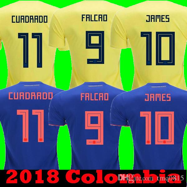 f03357dd7 Cheap Top Thailand 2018 FALCAO JAMES COLOMBIA Soccer Jerseys Home Yellow  2019 CUADRAD SANCHEZ AGUILAR Away Blue Football Camisetas Shirts 18 19