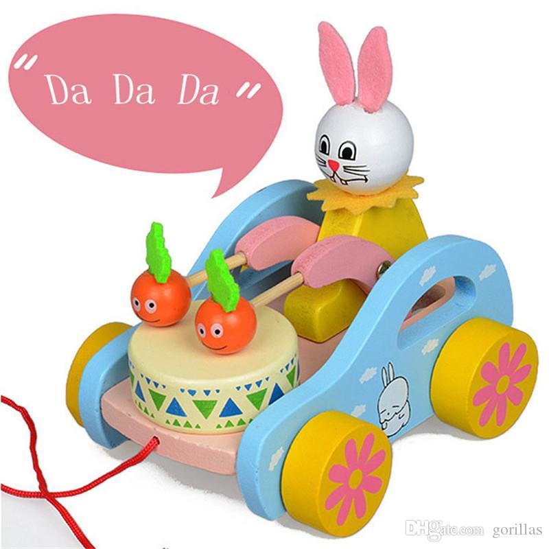 Durante Toque Los De Niños Para Pequeños Empuje Adorable Infantil Y Tambores Año Conejo Tire Desarrollo Madera Juguete 1 Tirón Nw8Pnyv0mO
