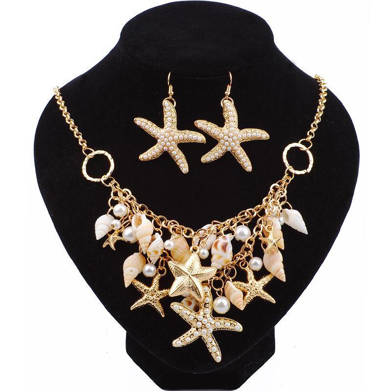 9b3195b6 Europa Moda Creativa Estrella de Mar Concha Diseño Pendientes Collar  Conjuntos de Joyas Estrella de Mar Shell Viaje Accesorios Conmemorativos