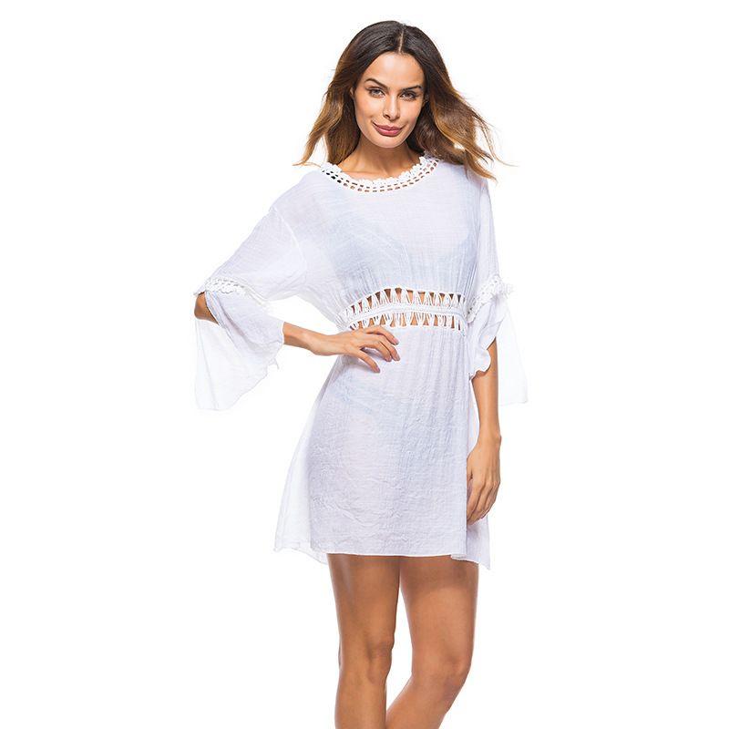 a2e9c7770e 2019 Beach Bikini Cover Ups Swimwear Women Summer Crochet Hollow Knit  Blouses Style White Dresses Sexy Holiday Swimsuit Sunscreen Shirt Beachwear  From ...