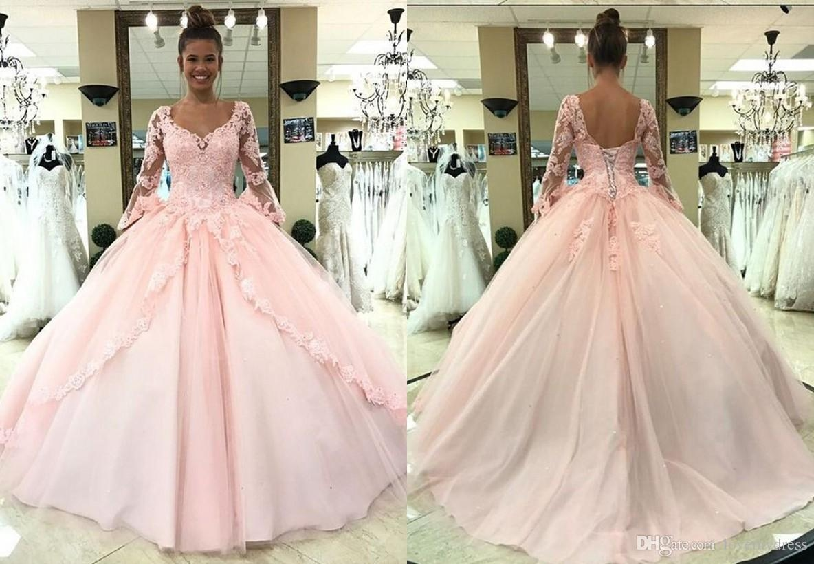 2018 Fashion Juliet Long Sleeves Quinceanera Prom Dresses Ball Gown ...