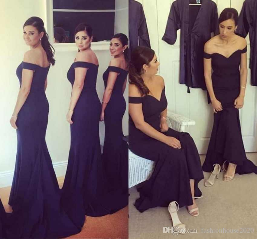 2018 Simple Navy Blue Long Mermaid Bridesmaid Dresses Off Shoulder Cap  Sleeves Long Satin Wedding Guest Dress Plus Size Maid Of Honor Gowns Canada 2019  From ... c3b8ea4a46ba