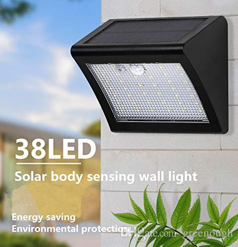Outdoor Solar Powered Led Wall Light Waterproof 38 Leds Motion Sensor Solar Wall Lamp Garden Backyard 1pc