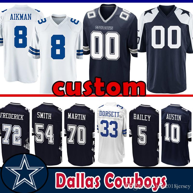 buy popular a5f54 b5fda 8 Troy Aikman custom Jersey Dallas Cowboys 72 Travis Frederick 54 Jaylon  Smith 12 Roger Staubach 70 Zack Martin Tony Dorsett Gallup Austin