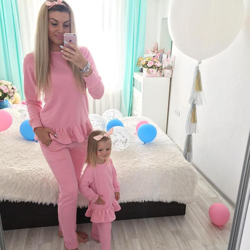 067de2d38 Cute Toddler Kids Baby Girl Woman Clothes Mom Daughter Family Match Outfit  Long Sleeve Ruffles Tops+Long Pant 2PCS Clothing Set