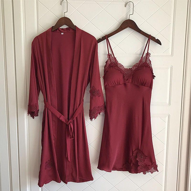 2019 Nighties Women Pajamas Satin Sleepwear Pijama Silk Home Wear Lace Home  Robe Chest Pads Sleep Lounge Pyjama Red Black From Cailey 635db2f58