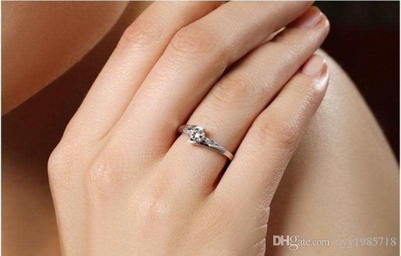 Hot-sell Star Twinkle Synthetic Diamond Engagement Ring Sterling Silver Jewelry 18K White Gold Plated Semi Mount Settings Ring
