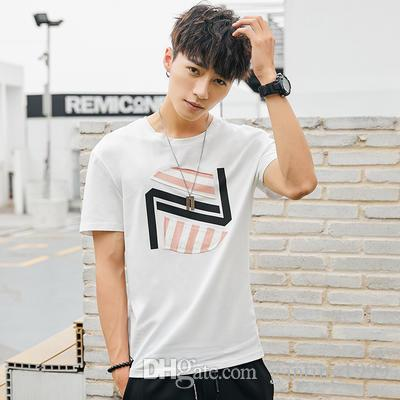 Men S Short Sleeved T Shirt Round Neck Loose Clothes Summer Korean