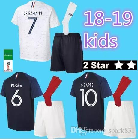 0805ca52fb0 Kids MBAPPE Soccer Jerseys 2018 2019 GRIEZMANN POGBA Fr National ...