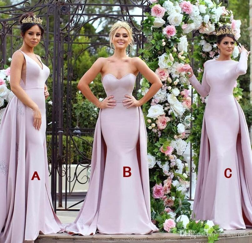 2018 New Mermaid Mixed Style Bridesmaid Dresses Nigerian Maid of Honor Gowns with Overskirt Train Arabic Dubai Formal Party Gowns BA9307