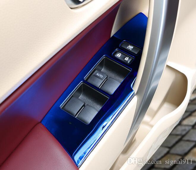 fenêtre de levage interne de la porte haute qualité voiture Bouton interrupteur du panneau de protection éraflure, la couverture de décoration pour Toyota Corolla 2014-2017
