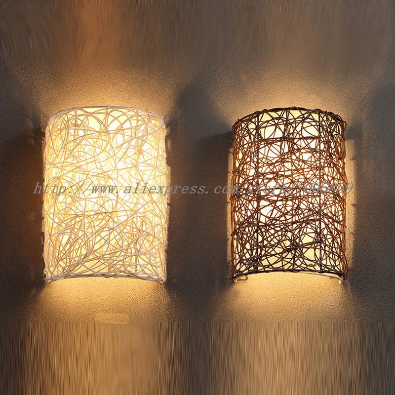 2018 Modern Handmade Rattan Wall Sconces Lamp Brownwhite Color