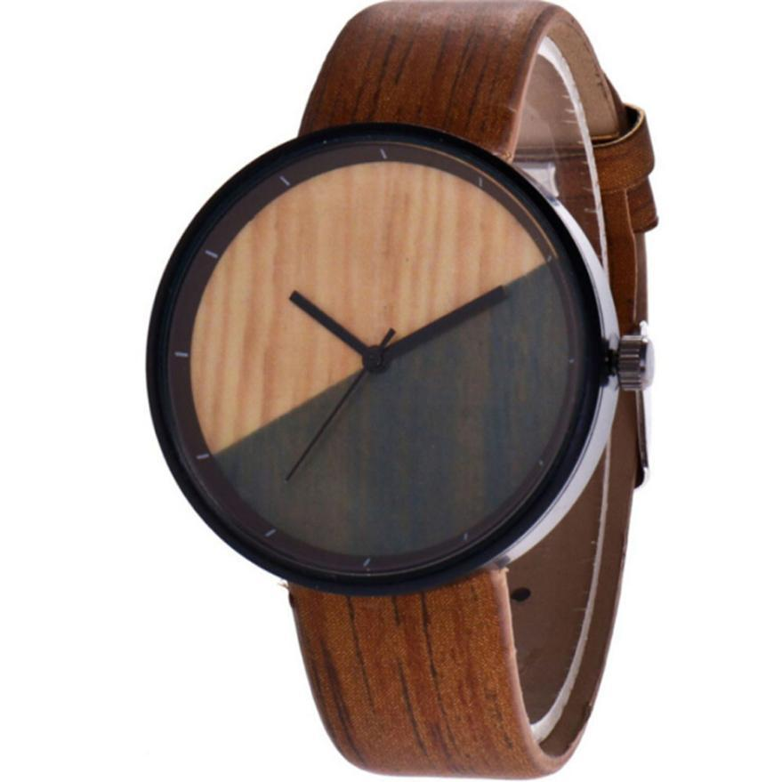12195e6879e Women s watches casual Wood Grain Creative Young Men And Women Half Color Quartz  Lovers Watches couple watch 4 Colors available