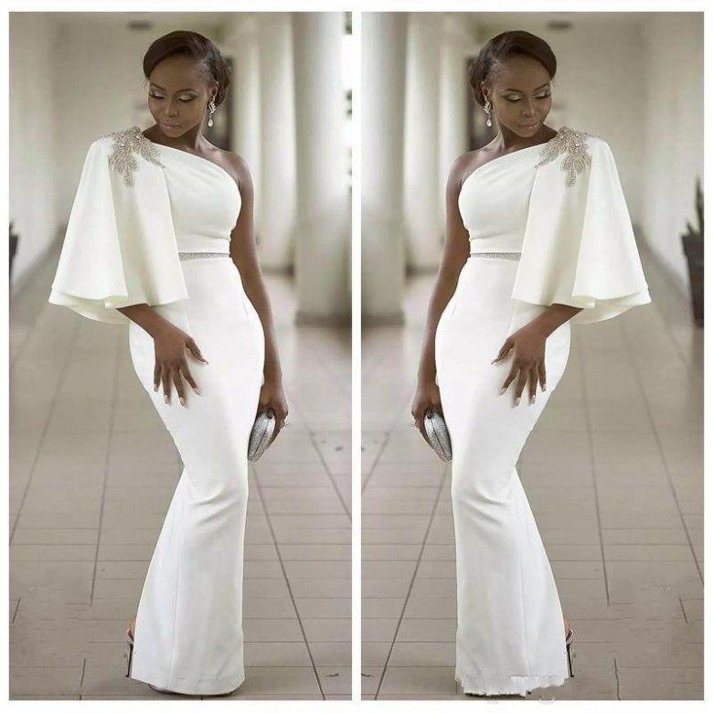 Women White One Shoulder Cocktail Dresses