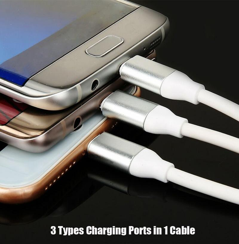 3 in 1 Multiple USB Fast Charging Cable with Type C Micro V8 Connectors for Samsung Note8 S9 S8 8 7Plus Plus Huawei