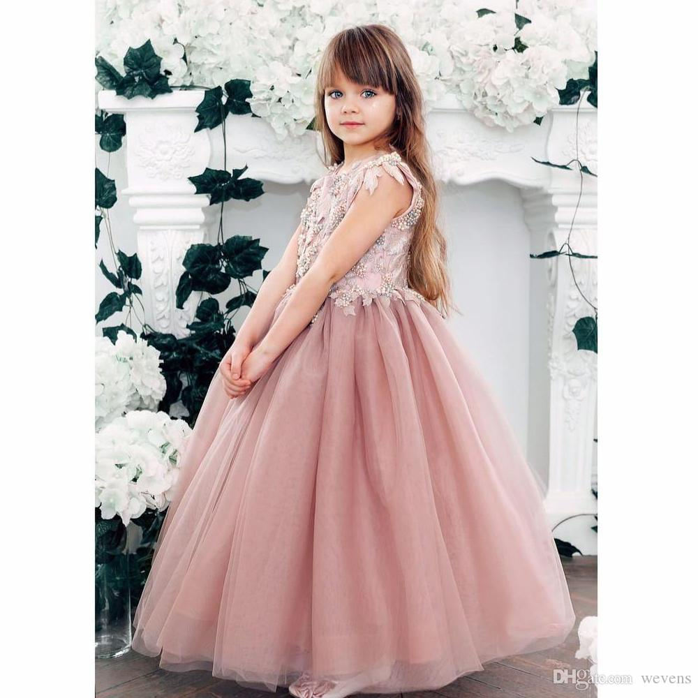 f5fc72efdb0 Blush Pink A Line Ankle Length Flower Girls Dresses Jewel Neck Short Sleeve Appliques  Beading Toddler Special Occasion Gown Cheap Flower Girl Dresses Under ...