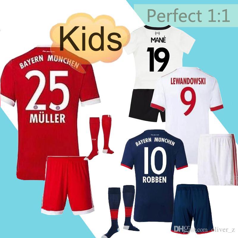fast uniforms kit youth kids 2017 2018 socce jersey bayer muniches 1 neuer 9 lewandowski 25 muller 1