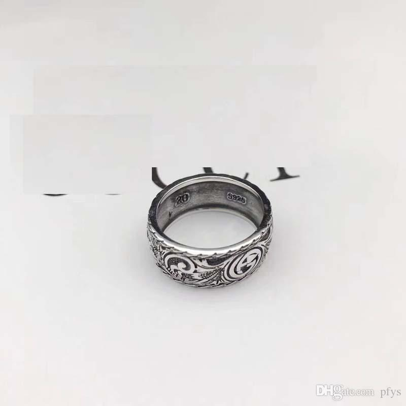 High quality 925 sterling silverJapanese-Korean fashion brand ring silver lovers men British-style Vintage old ring ring