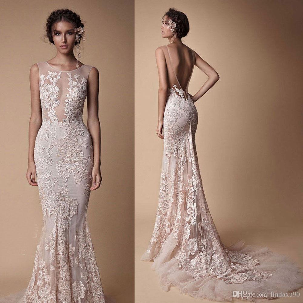 Sexy 2018 Berta Backless Mermaid Wedding Dresses Sheer Neck Sleeveless Beach Bridal Gowns Wedding Dress Lace Appliqued Garden Wedding Dress