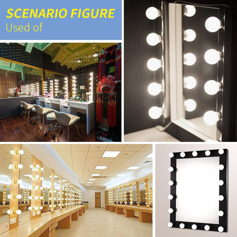 LED Bulb Chain Wall Lamp Makeup Mirror Light led Vanity Mirror Bathroom Light bedroom Kit for Dressing Table 6 10 14 Bulbs DC12V