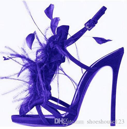 70777f6c09a3 Purple Blue Feather High Heels Sandals Sexy Nightclub Style Stiletto Heels  Women Shoes Ankle Buckle Strap Women Pumps White Shoes Silver Sandals From  ...