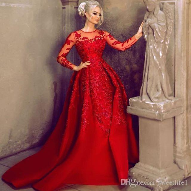 Vestidos de noche rojos con manga