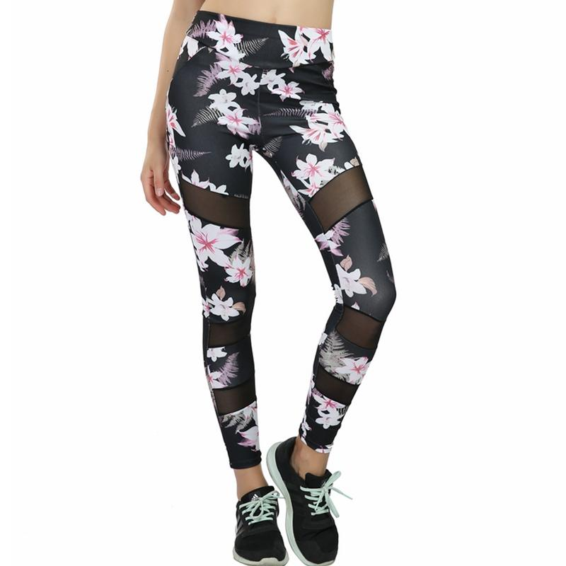 6ea0e0872594bd 2019 Flower Printing High Waist Yoga Pants Women'S Fitness Elastic Gym  Workout Tights Running Trousers Plus Size Sport Yoga Leggings From Cookki,  ...