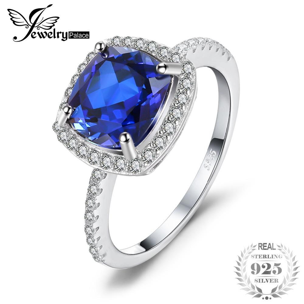 JewelryPalace Classic 3.53ct Cushion-Cut Created Blue Sapphire Engagement Wedding Ring For Womne 100 925 Sterling Silver Jewelry Y1892705
