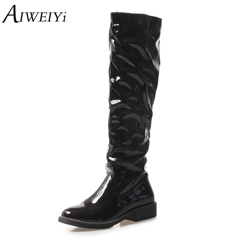 8d8c0f67efe AIWEIYi Shoes Women Knee High Boots Patent Leather Flat Heel Boots Casual  Shoes Winter Footwear Woman Designer Shoes Rain Boots For Women From  Penbake, ...