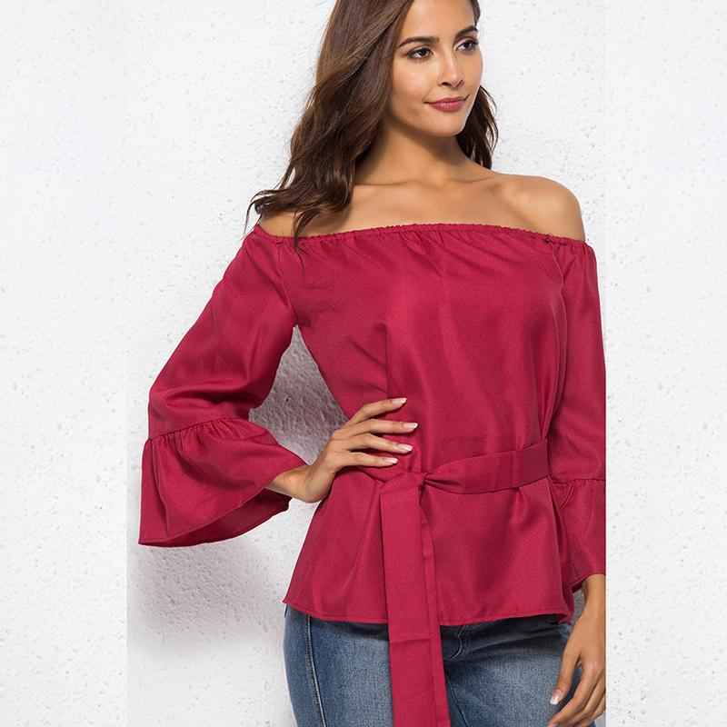 e1a412408a3e60 New Autumn Fashion Brand Long Sleeve Off The Shoulder Women T Shirt Tops  Wine Red Lace Up Bandage Blusas Shirt Buy T Shirt Design Buy Tee From  Liasheng05