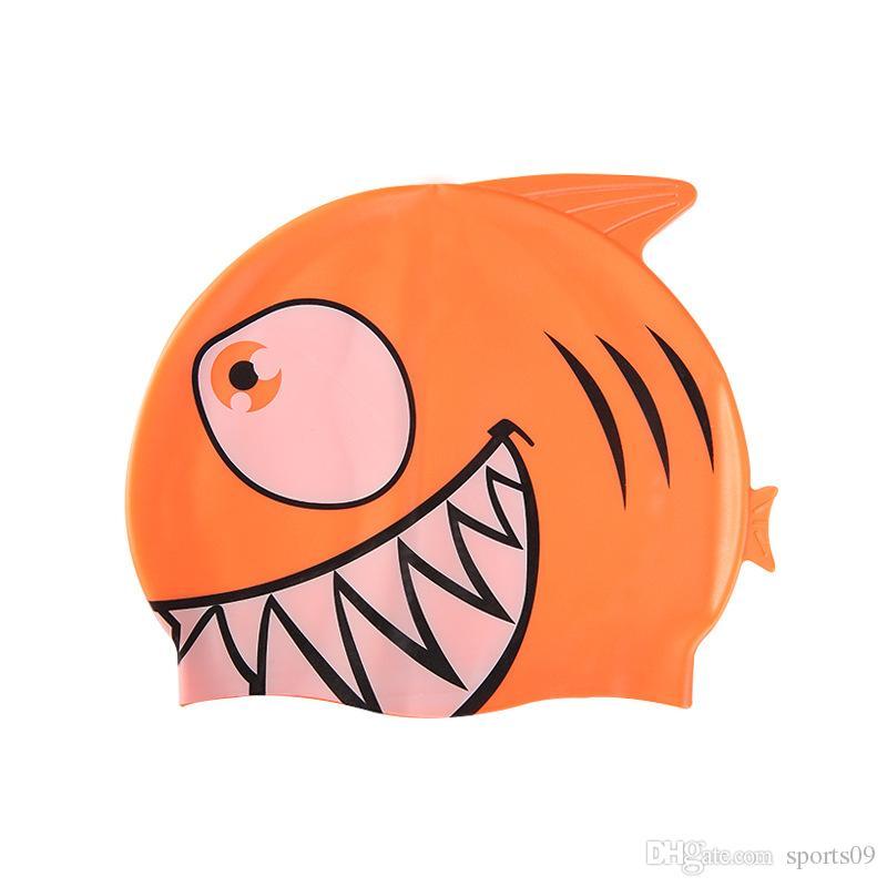 Neue Kinder Cartoon Badekappe Silikon Tauchen Wasserdichte Schwimmen Hut Kinder Mädchen Jungen Favor Badekappe Mit Fisch Shark Muster