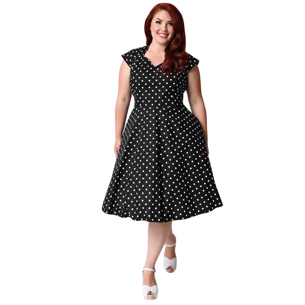 ae84c1e635c Women 8XL 9XL Plus Size Retro Polka Dot Dress 1950s 60s Rockabilly Swing  Dress 6XL 7XL Party Midi A Line Dress Black Dark Blue Gold Party Dress Lady  Dress ...