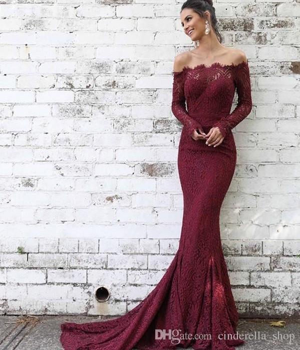 Elegant Burgundy Mermaid Prom Dresses 2018 Off Shoulder Long Sleeve ...