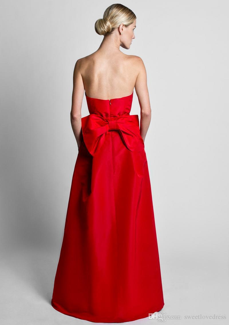 2019 Fashion Overall Abendkleider mit Cabrio-Rock-Satin-Bogen zurück Schatz-trägerlosen Satin-Bund-Hochzeit Gastkleider Prom