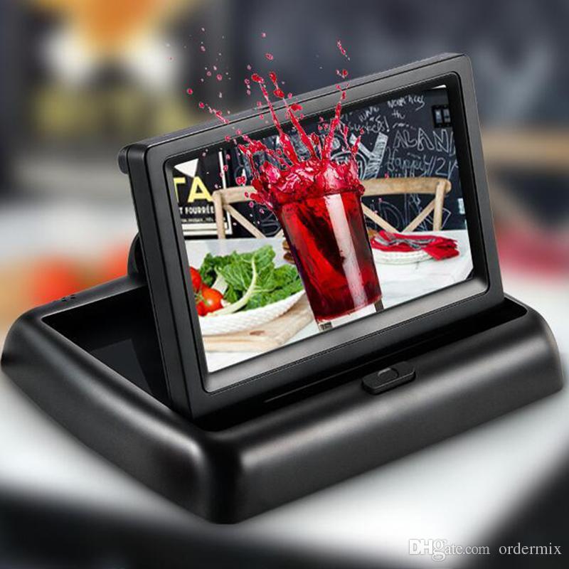 4.3inch سيارة فيديو لاعب HD شاشات سيارة قابلة للطي TFT LCD عرض الخلفية شاشة عرض لوحة رقمية لوحة اللون سيارة الرؤية الخلفية