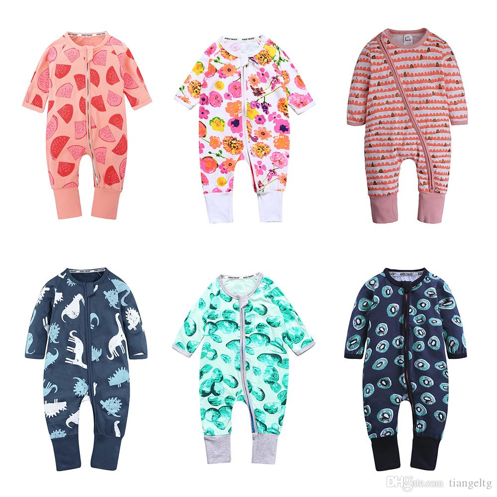 c75f506de71 2019 Ins Baby Rompers Jumpsuits 78 Designs Double Zipper Floral Leopard  Striped Dinosaur Rainbow Watermelon Sunflower Fox Tropical Plants Avocado  From ...