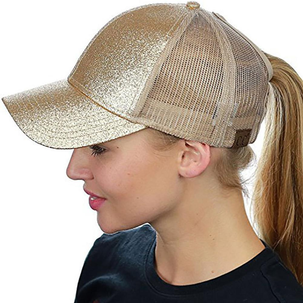 MISSKY Women Breathable Paillette Baseball Cap With Ponytail Hole Summer  Sun Screen Hat Gift Cheap Snapback Hats Hats Online From Arrowhead f87b2839f45