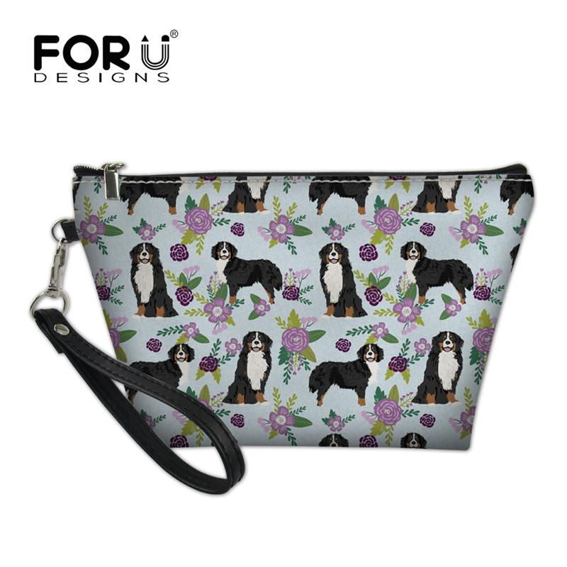 FORUDESIGNS Women Cosmetic Bag Bernese Mountain Dog Pet Purple Printing Neceser Travel Makeup Bags Beauty Organizer 2018 Fashion