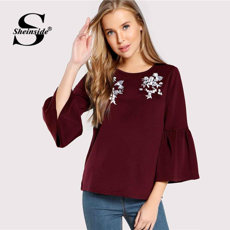 c976ecd437 2019 Sheinside Flower Embroidered Burgundy Ruffle Sleeve Ladies Work Top  Women Plain Casual Shirt Autumn Womens Tops And Blouses From Houmian, ...