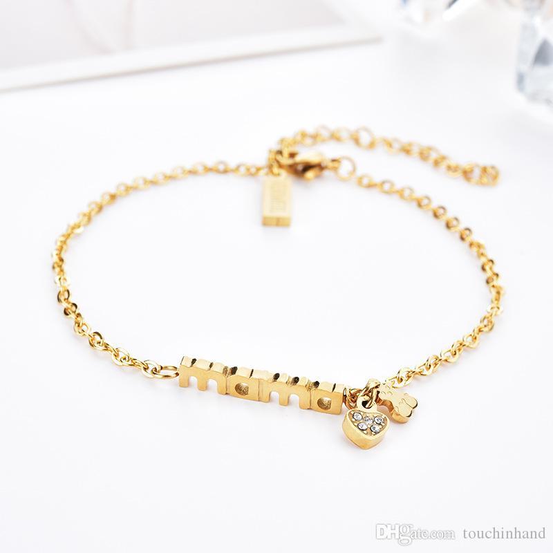 ab861fecdbb6 MAMA Lettera Charming Silver Gold Bracciale a catena in oro rosa Trendy  Design Bracciale in acciaio inossidabile a forma di cuore Pulsera Mujer