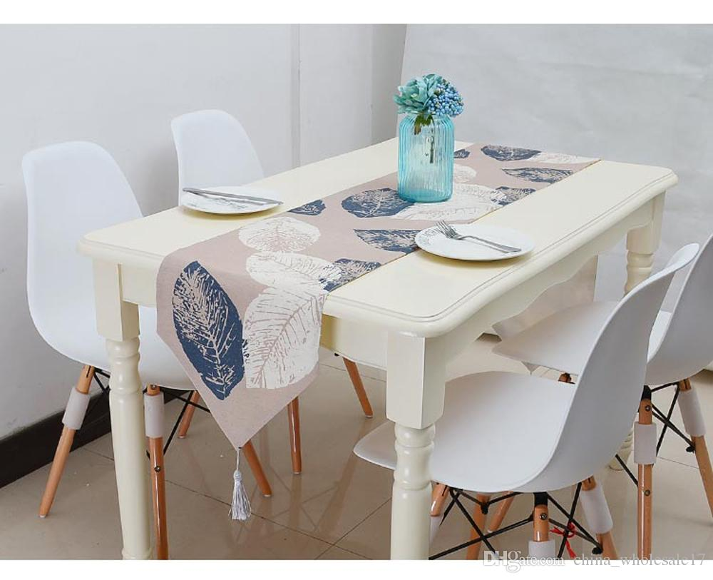 Linen Leaf Nordic Style Table Runner Table Flag Blue With Tassel For Home  Party Tea Table Cloth Cover Mat Home Decoration 108 Inch Table Runner 108  Table ...