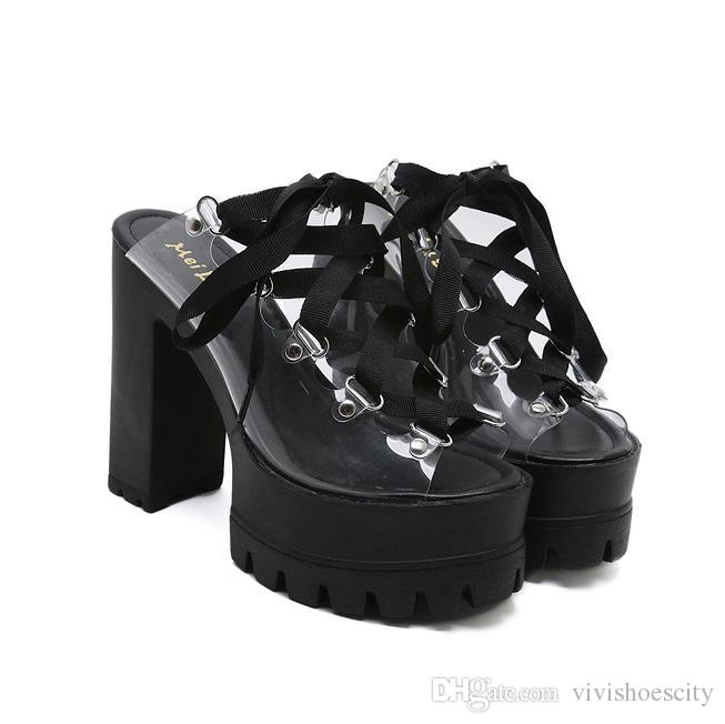 f607d927090 13cm Black Lace Up Thick High Heels PVC Transparent Platform Sandals Women  Slipper Shoes 2018 Size 34 To 39 Wedge Heels Pink Shoes From Vivishoescity