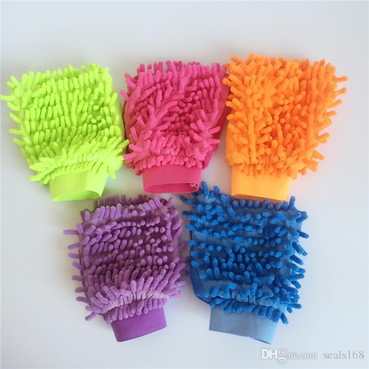 Gants de nettoyage de voiture en Microfibre Chenille Gants de Lavage Coral Fleece Anthozoan Car Sponge Wash Cloth Car Care Cleaning 21 * 16CM HH7-804