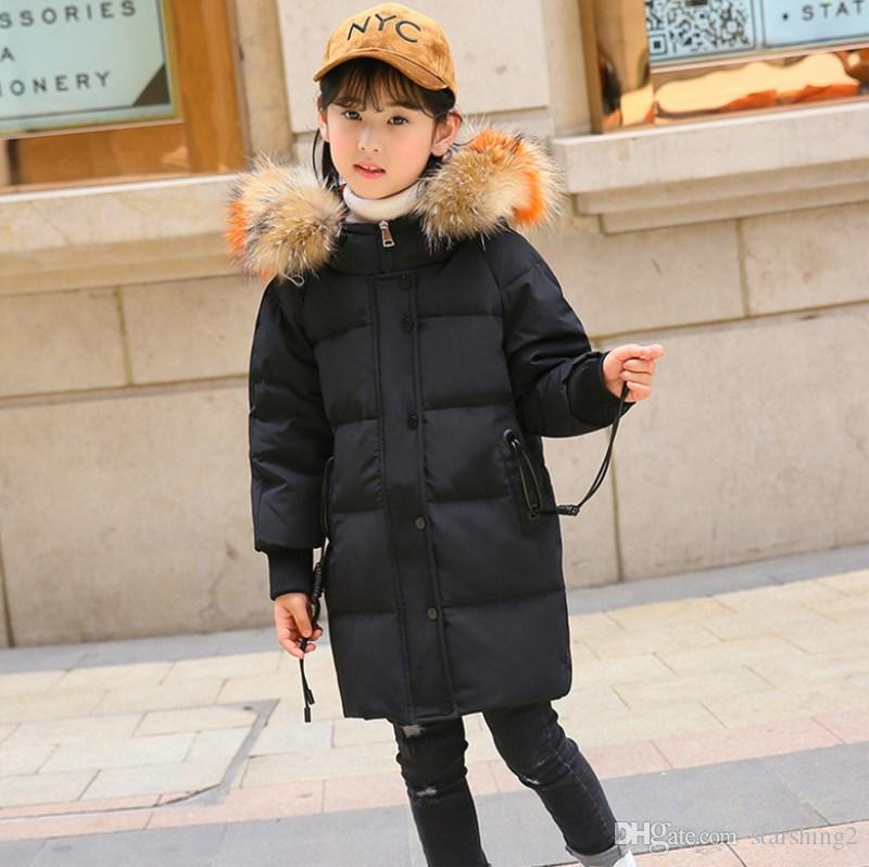 8b2c0767878 New Style 2018 Fashion Children Winter Jacket Girl Winter Coat Kids Warm  Thickening Fur Collar Hooded Long Down Coats For Teenage 5 14 Year Toddler  Down ...