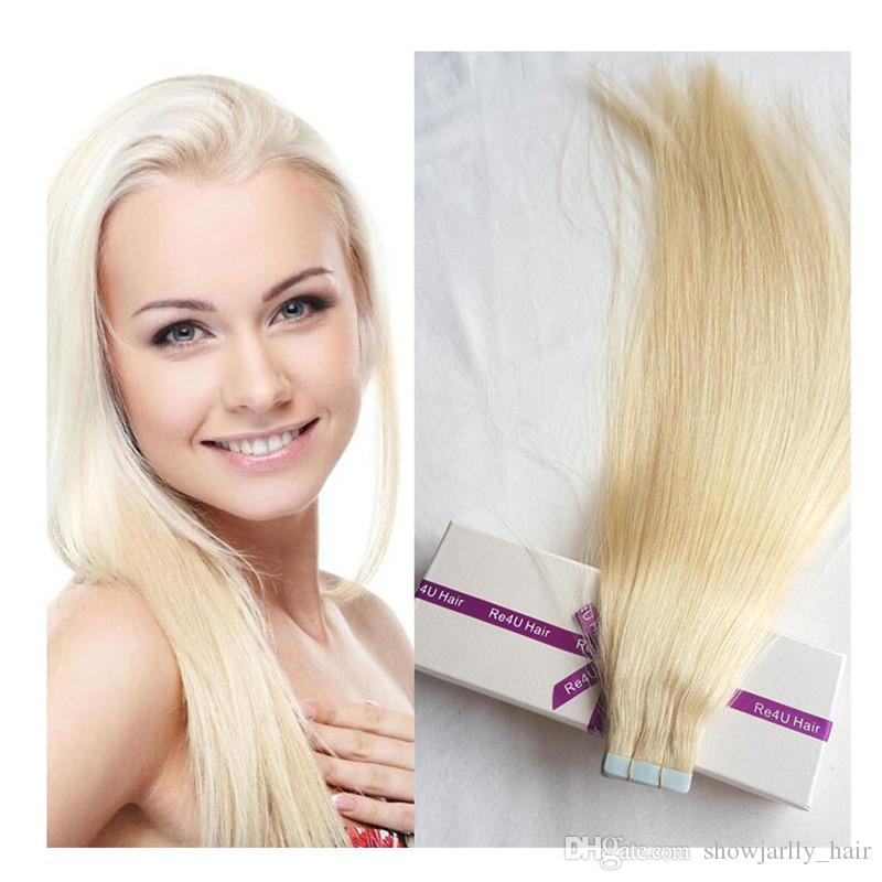China Supplier no tangle Russian double drawn #60 tape in hair extensions 50g virgin human tape in hair extensions cost
