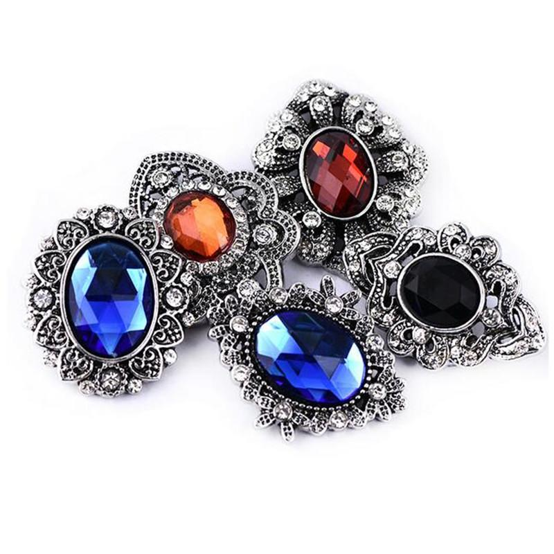 New Snap Jewelry Mix Rhinestone Flower 18mm Snap Buttons Fit Metal Button Bracelet Bangle For Women 10pcs/lot