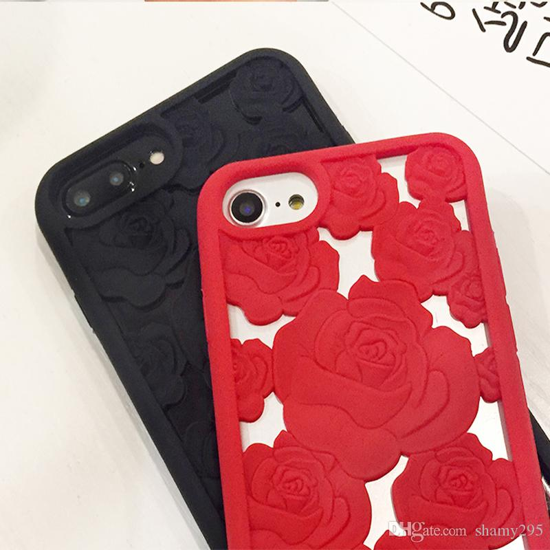 New 3D Hollow Rose soft silicone Cell Phone Case For Apple iphone X SE 5S 8 8plus 6 6s plus 7 7plus Luxury gel flower back Cover free ship